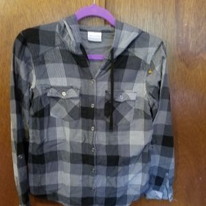 Columbia Button Up Hooded Flannel Size XS